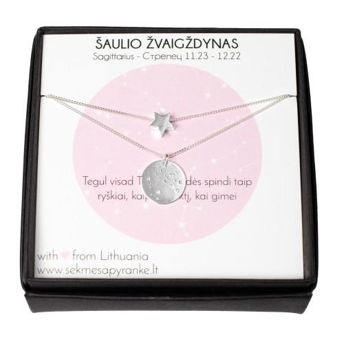DVIEJŲ PAKABUKŲ RINKINYS ✷ Pasirinktas Zodiako žvaigždynas + žvaigždutė